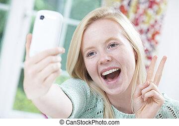 מתבגר, נייד, selfie, טלפן, ילדה, לקחת