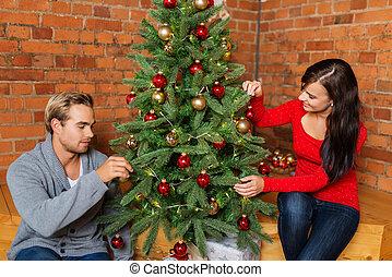 מתוק, זוג צעיר, לקשט עץ של חג ההמולד