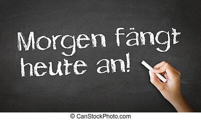 מתחיל, היום, german), מחר, (in