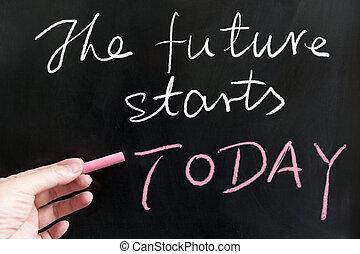 מתחיל, עתיד, היום