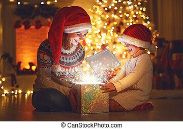 מתנה, קסם, ילד, משפחה, christmas!, בית, אמא, שמח