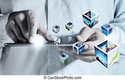 נגע בלוח כתיבה, מחשב, ו, 3d, לזרום, דמויות