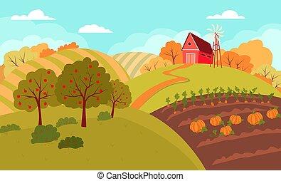 נוף, גבעות, סתו, כפרי, איזורי כפר, להתגלגל, fields., שטח חקלאי, תחום