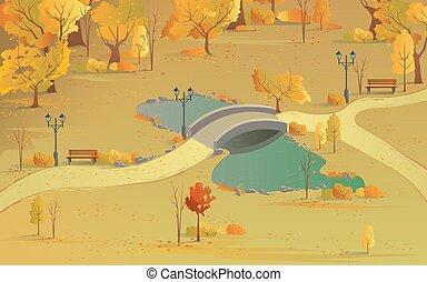 נוף, גשור, זהוב, מעל, סתו, צבעים, שביל של יער, pond., נוף, יפה