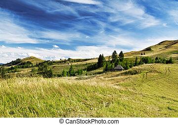 נוף., דרמטי, גבעות, שמיים, ארץ, יפה