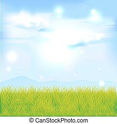 נוף, עם, דשא ירוק