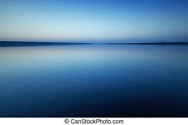 נוף, עם, שקיעה, מעל, אגם