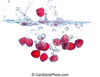 נופל, השקה, פטלים, התז, מתחת, אדום