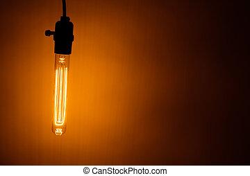 נורת חשמל, מנורה, עם, חם, אור