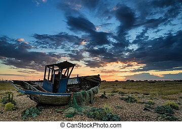 נטש, שקיעה, סירה, החף, נוף, לדוג