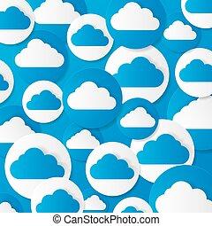 נייר, וקטור, illustration., clouds.