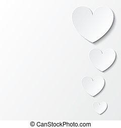 נייר, לבבות, יום של ולנטיינים, כרטיס, ב, white.