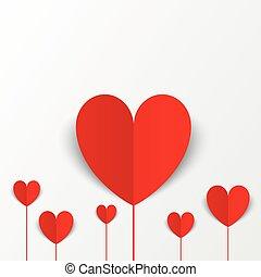 נייר, לבבות, יום של ולנטיינים, card., פרחים, concept.