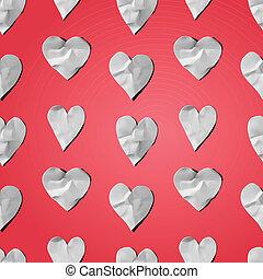נייר, לבבות, -, seamless, אומנות, עצב, תבנית