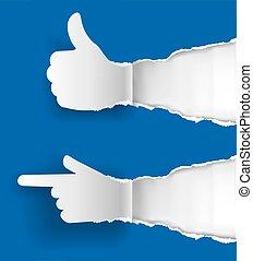 נייר, לסמן, ידיים