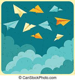 נייר, שמיים, מטוסים, דוגמה, clouds.