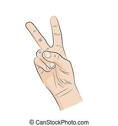 ניצחון, language., hand-sign, v-shape
