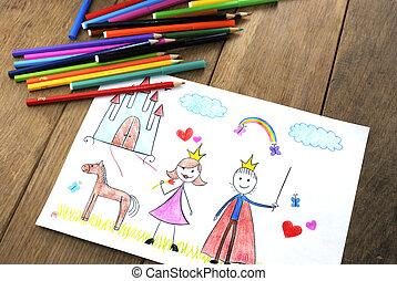 נסיכה, ילדים, נסיך, ציור