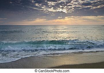 נצח, ב, בולגרי, חולי, חוף, ליד, עלית שמש, מדיטציה
