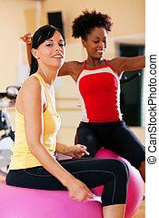 נשים, אולם התעמלות, כדור, שני, כושר גופני