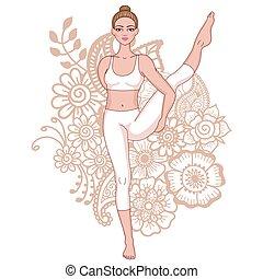 נשים, silhouette., צפור של גן עדן, יוגה, pose., svarga,...