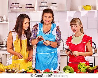 סבתא, kitchen., משפחה, ילד
