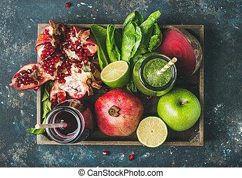 סגול, מיצים, ירקות, ירקות, פרי, ירוק, טרי, מגש