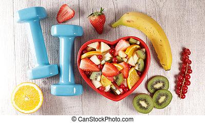 סגנון חיים, בריאות, בריא, concept-, דיאטטי, אוכל