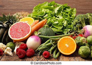 סגנון חיים, בריא, vegetable-, פרי, אוסף
