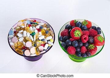 סגנון חיים, גלולות, בריא, ויטמין, דיאטה, מושג, פרי, תוספות, רקע, לבן