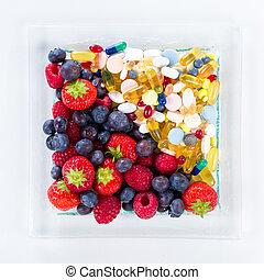 סגנון חיים, גלולות, פסק, בריא, ויטמין, דיאטה, מושג, פרי, תוספות, רקע, לבן, העתק
