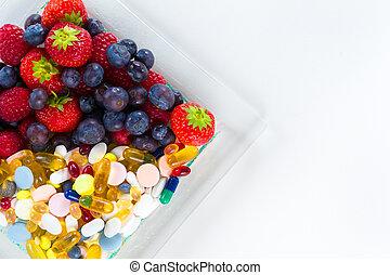סגנון חיים, גלולות, פסק, בריא, ויטמין, דיאטה, מושג, פרי,...