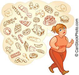 סוגי אוכל, אישה, שומן, חולם