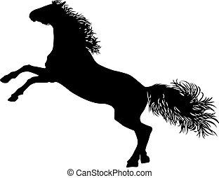 סוס, ציור, צללית, לעמוד, שחור