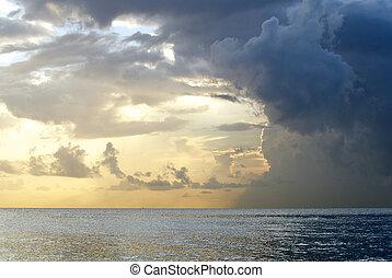 סוער, עננים, ב, פלורידה, עלית שמש