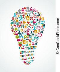 סוציאלי, תקשורת, איקונים, הפרד, רעיון, נורה, eps10, file.