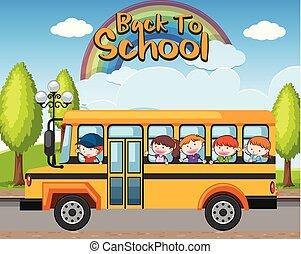 סטודנטים, אוטובוס, בית ספר, השקע
