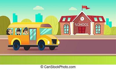 סטודנטים, לך, בית ספר, schoolbus.