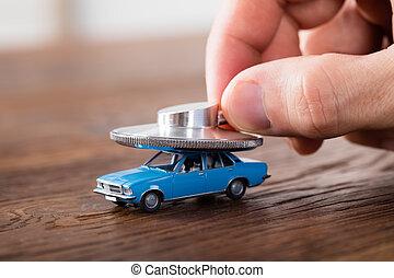 סטטוסקופ, עם, מכונית, מושג