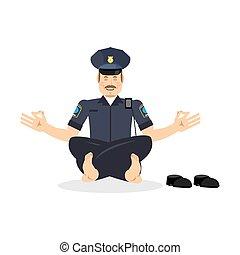 סטטוס, שוטר, enlightenment., משטרה, pose., שוטר, relaxes., ...