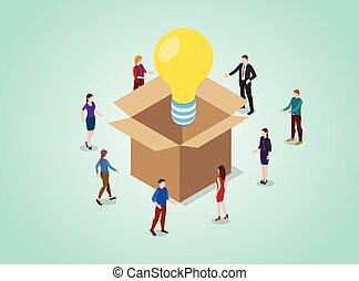 סיגנון, אור, בעיה, אנשים, לחשוב, התחבר, וקטור, קופסה, נורת חשמל, איזומטרי, מושג, -, לפתור