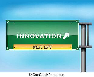 """סימן של כביש המהיר, עם, """"innovation"""", טקסט"""