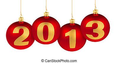 סיפרות, עשה, עץ, הפרד, קישוט, כדורים, 2013, שנה, חדש, חג המולד לבן, אדום