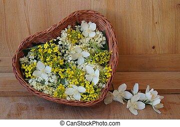 סל, עם, פרחים