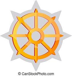 סמל, בודהיסט, צהוב, וקטור, דוגמה, רקע, לבן