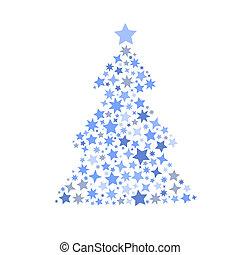 סמל, צללית, של, עץ של חג ההמולד, כוכבים