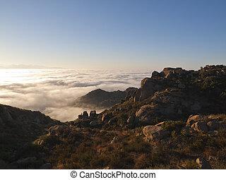 סן, frenando, עמק, עלית שמש, ערפל
