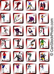 ספורט, צללית, icons., וקטור, דוגמה