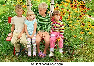 ספסל, ילדים, גן, לשבת