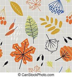 סתו, herbarium., תבנית, leaves., seamless, נפול, spirit.